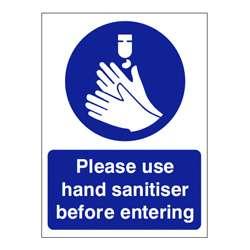 Please use hand sanitiser before entering Sign