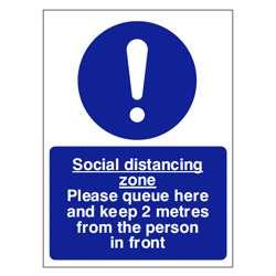 Social Distancing Zone Queue Sign