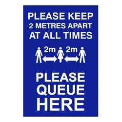 Please Queue Here Social Distancing Sign