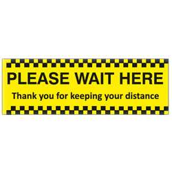 Please Wait Here Black/Yellow Floor Graphic