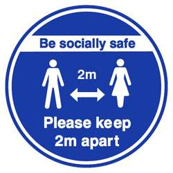 Be Socially Safe Blue and White Floor Graphic