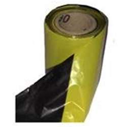 Black and Yellow Striped Barrier Tape - 70mm x 100M