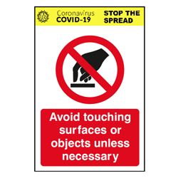 Avoid Touching Surfaces Sign
