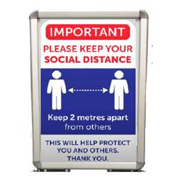 A2 Social Distancing Sign with Stand