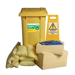 240L Chemical Spill Response Kit and 2 Wheel PE Bin