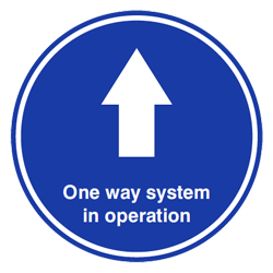 One Way System Blue Floor Graphic