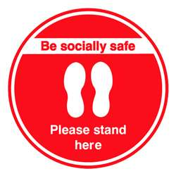 Be Socially Safe Please Stand Here Red Floor Graphic