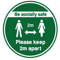 Be Socially Safe Green and White Floor Graphic