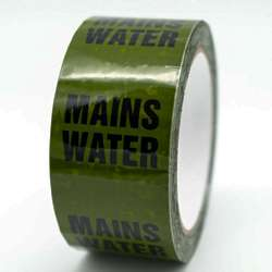 Mains Water Pipe ID Tape Black on Green