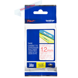 Brother TZ Tape – Red on Clear - 12mm x 8M