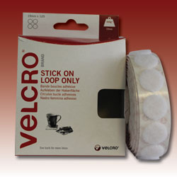 VELCRO® Brand Stick on Range - Loop only Coins - 125 coins per pack