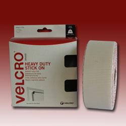 VELCRO® Brand Heavy Duty Stick on Tape - White - Hook & Loop -  50mm x 2.5M
